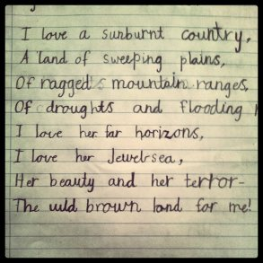 Dorothea Mackellar's 'I love a sunburnt country'.